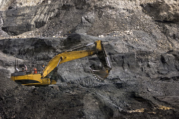 working the coal seam at an open cast  mine