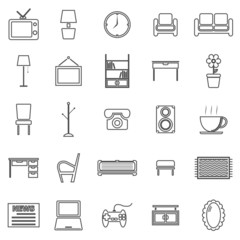 Living room line icons on white background
