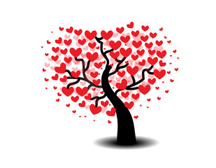 Tree of love on a white background