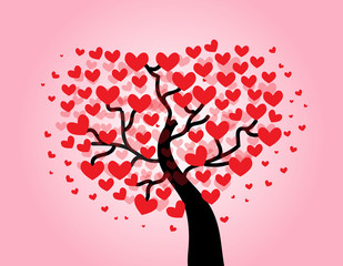Tree of love on pink background