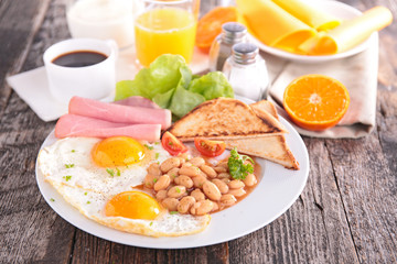 breakfast with egg,bean,bacon