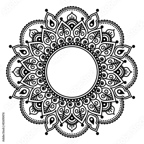 Mehndi Lace Indian Henna Tattoo Round Design Or Pattern Stock