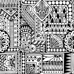 Seamless ethnic  doodle black and white background pattern in