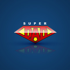 Super dad shield on blue back ground. for farther' day card.