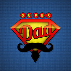 Super dad shield in pop art style.