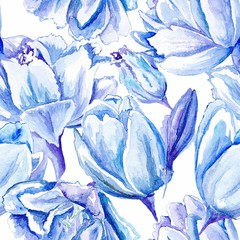Blue Watercolor Tulip Pattern