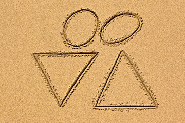drawing in the sand depicting love of man and woman