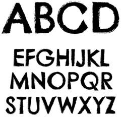 Grunge font full alphabet letter