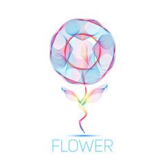 flower waves colorful gradient light blend line icon logo