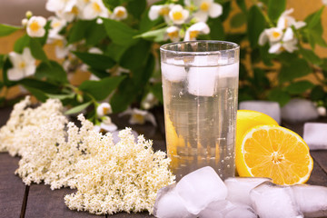 Elder flower Summer refreshment with ice and lemon