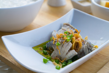 Steamed fish with steam rice set, typical Thai breakfast