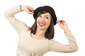 Portrait of a expressive beautiful girl with black hat