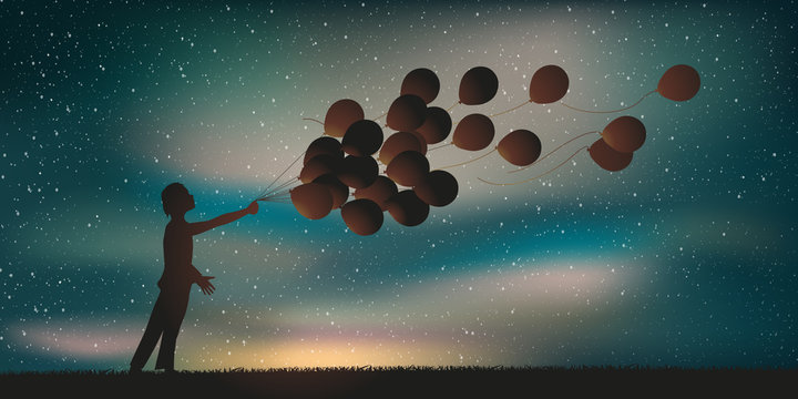 Enfant ballons de baudruche