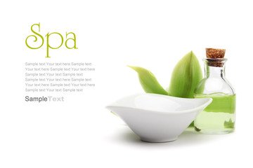 Poster de jardin Spa Spa concept. Green orchid, white vessel and spa oil.