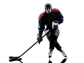 Ice hockey man player silhouette
