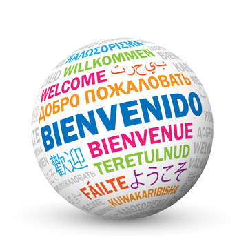 """""""BIENVENIDO"""" icono con traducciones en varios idiomas"""