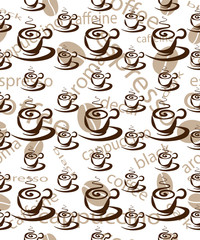 background of coffee cups, seamless vector