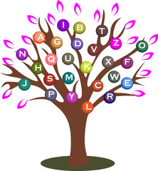 Vector illustrated tree with letters in colorful balls.