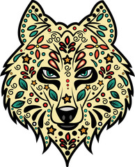 Wolf 's head decorated