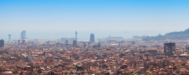 Wide panoramic cityscape of Barcelona