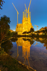 Reflection of the famous Sagrada Familia in Barcelona, Spain