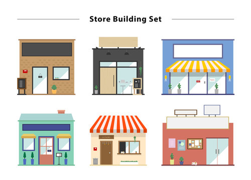 Store front vector illustration set