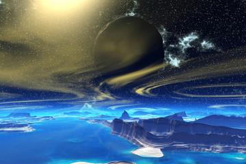 Fantasy alien planet. Rocks and  moon