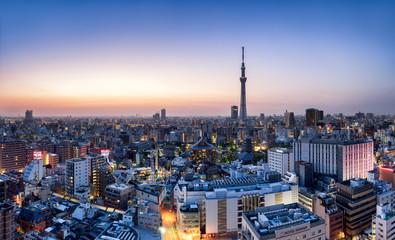 Foto auf AluDibond Tokio Tokyo Skyline mit Skytree