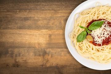 Spaghetti, italian, tomato. Wall mural