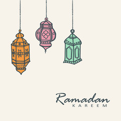 Hand drawn arabic lanterns, Ramadan vector illustration