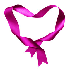 pink heart shape frame from twisted silk ribbon