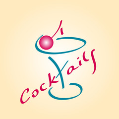 Cocktail icon, glass for cocktails with cherry, vector illustrat