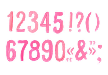 Lipstick and nail polish font numbers. Hand drawn red oil painting alphabet.
