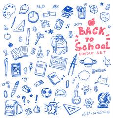 Hand drawn vector illustration set of school sign and symbol doodles elements.