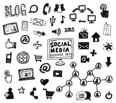 Hand drawn vector illustration set of social media sign and symbol doodles elements.