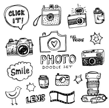 Hand drawn vector illustration set of photography sign and symbol doodles elements.