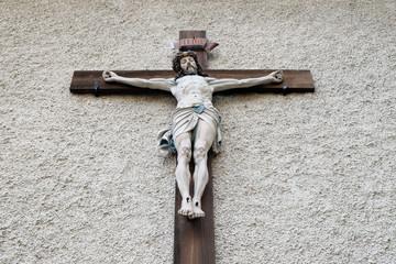Crucifixion, Maria am Berg church on December 13, 2014 in Hallstatt, Austria.