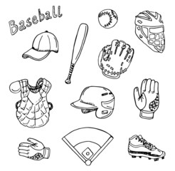 Hand drawn baseball set.