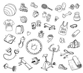 Hand drawn vector set of fitness and sport  elements.