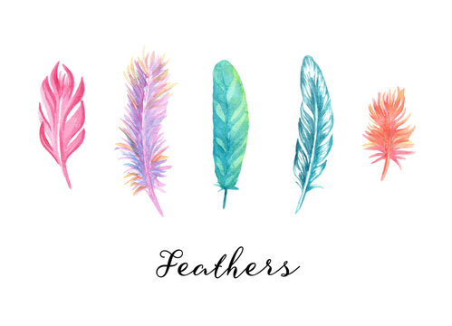 Hand drawn colorfull watercolor feathers set for your design.