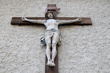 Crucifixion, Maria am Berg church in Hallstatt, Austria.