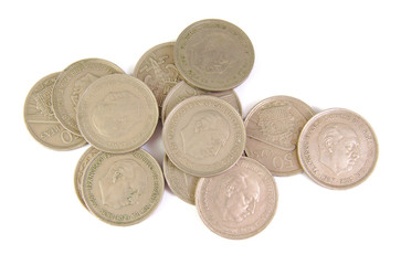 Bunch of old Spanish coins of 50 pesetas showing Franco dictator