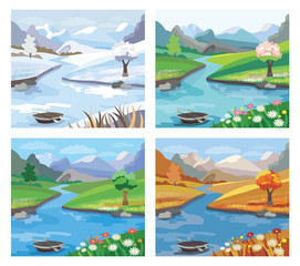 Beautiful landscape with river and mountains.Four season. (vecto