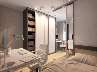 3D illustration of a bedroom for sibling