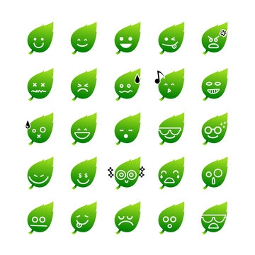 Collection of difference emoticon icon of leaf on the white back