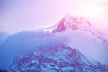 Aluminium Prints Purple sunrise in the mountains