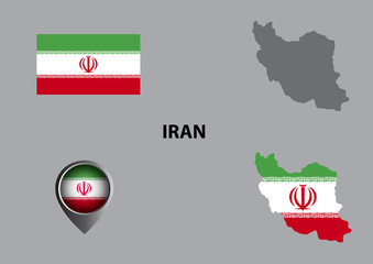 Map of Iran and symbol
