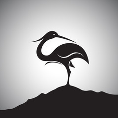 Vector image of an stork standing on the rocks.
