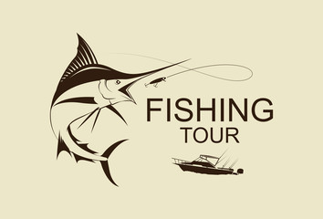 illustration fishing marlin symbol, vetor
