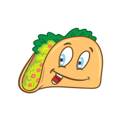 cartoon taco isolated on white background